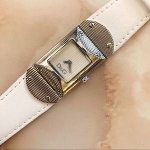 dolce & gabbana white leather square face watch